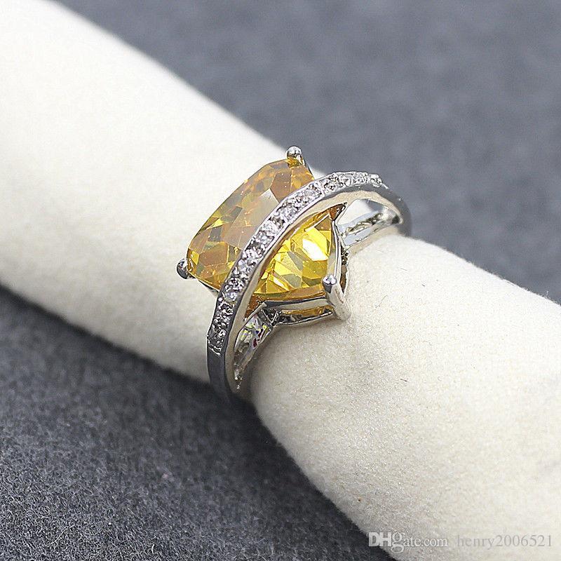 18K White Gold Filled Valentine's Day Lemon yellow Crystal Ring SZ 8