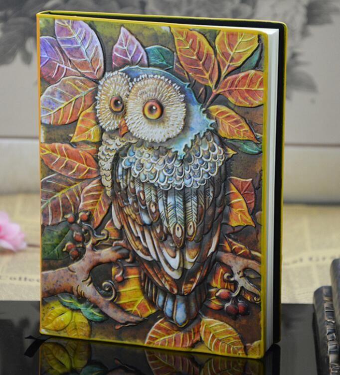 Cadernos de coruja vintage embossment papelaria novo design de moda estudante cadernos criativos livro de couro retro Hard Copybook diário de viagem
