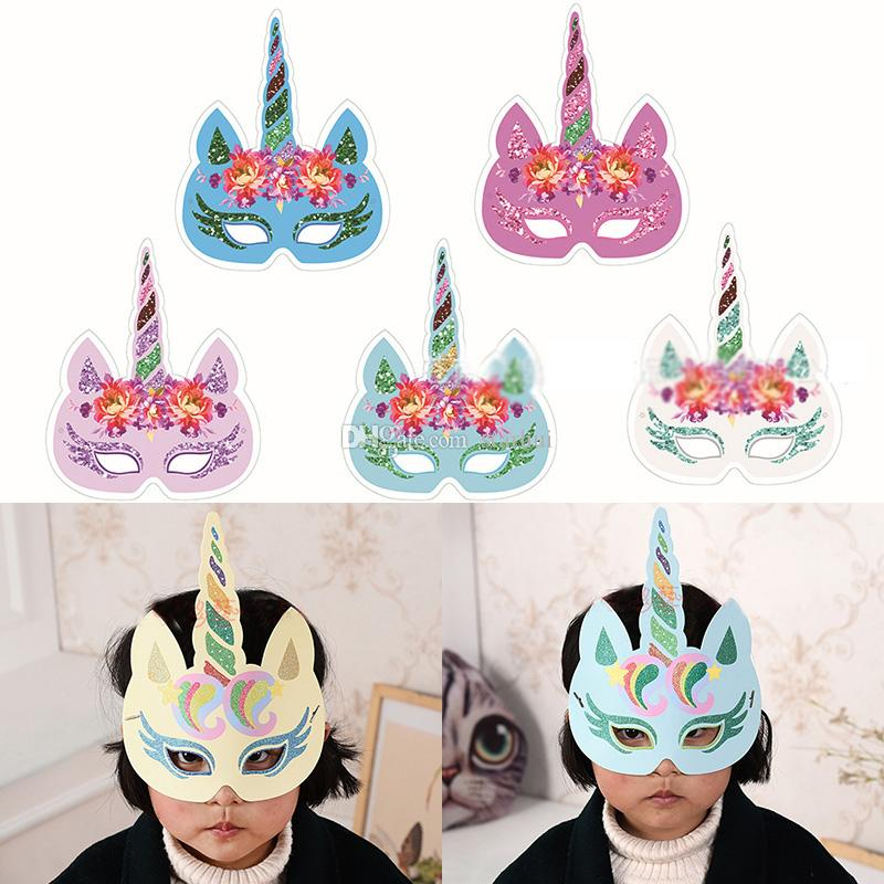 Moda Glitter Unicórnio Máscara De Papel Crianças Adulto Festa Chapéu de Aniversário Traje Cosplay Personagem Acessórios Presentes WX9-583