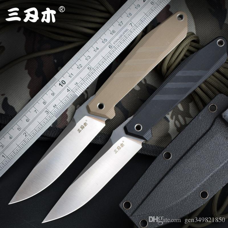 SANRENMU S758 Coltello fisso 8Cr13Mov Blade G10 Maniglia per esterni Camping Sopravvivenza Tactical Caccia Bushcraft Coltello Utility K Guaina