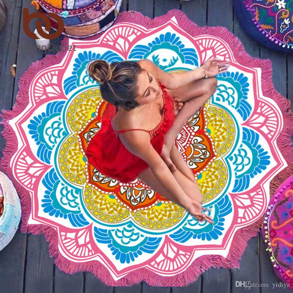 Borla de calidad superior Indian Toalla Mandala Tapiz Toalla de playa Bloqueador solar Bikini redondo Cover-Up Manta Lotus Bohemian Yoga Mat
