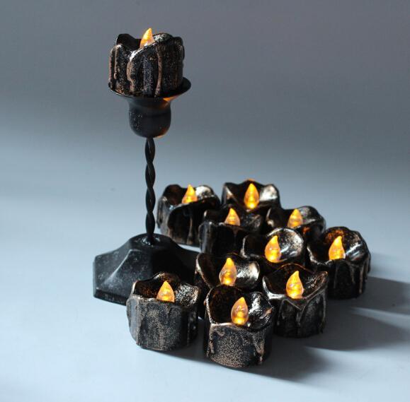Candele senza fiamma nere di Halloween Flash Candele luminose a batteria LED per la decorazione di Halloween Festival Party 12 pz