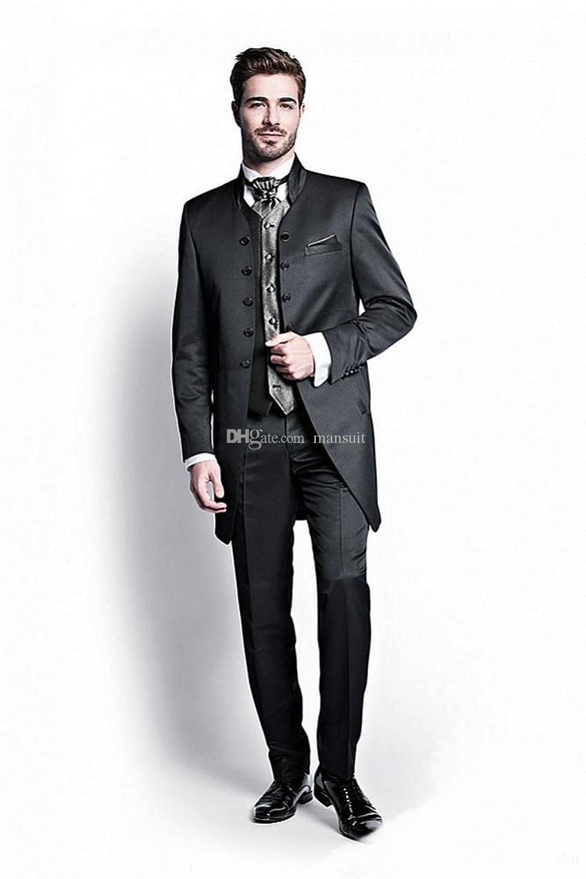 Smoking da sposo doppio petto Groomsmen Abito da sposo nero Abiti da uomo Matrimonio / Prom Best Blazer / Sposo da uomo (giacca + pantaloni + gilet + cravatta) M735