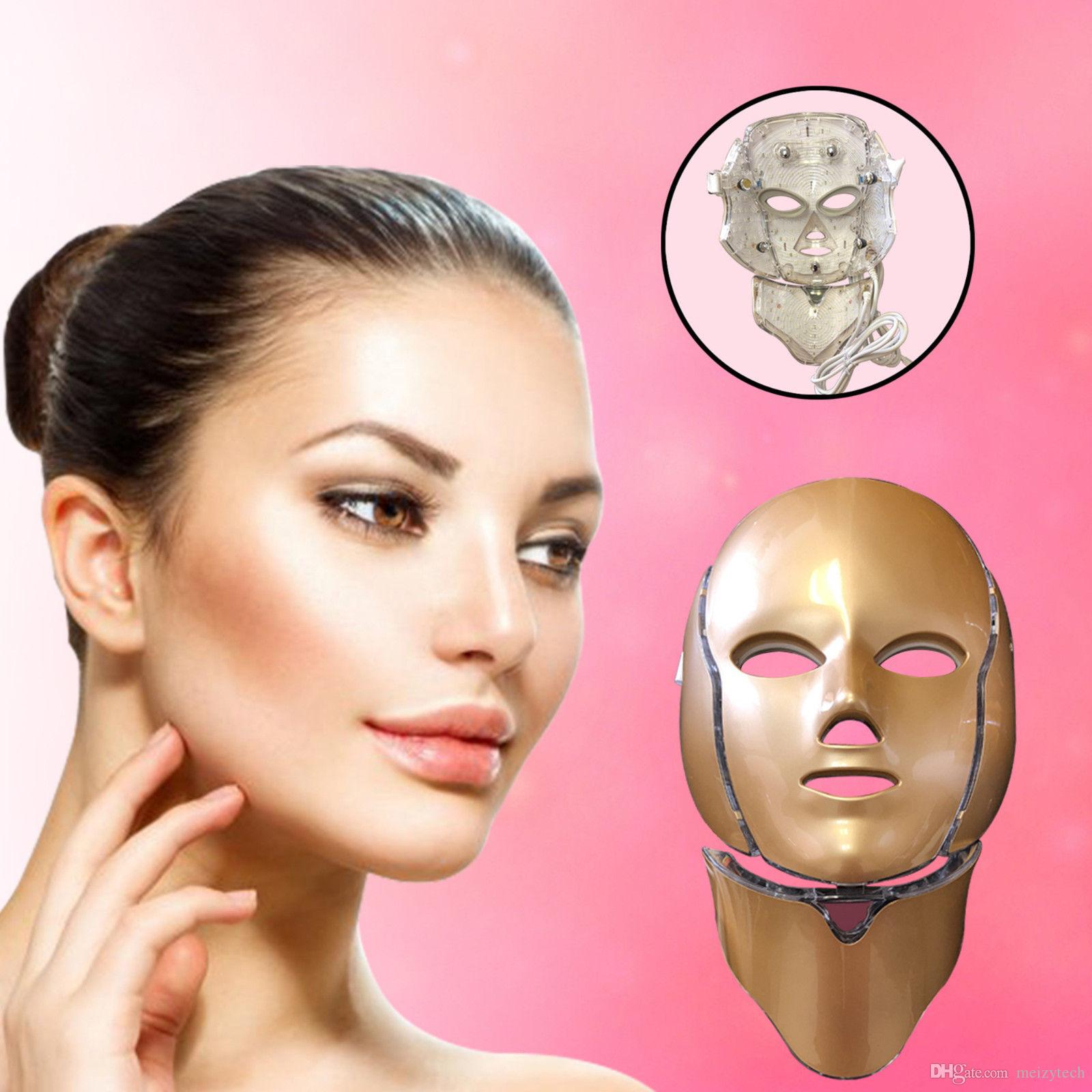 7 Colors PDT Light LED Photon Facial Mask Neck Face Home Skin Care Rejuvenation Therapy Wrinkle Removal