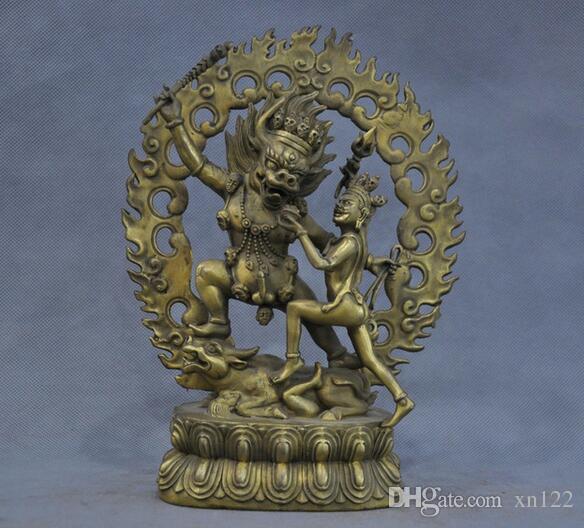Tibet Yamantaka Yama Buda protector deidad estatua de bronce