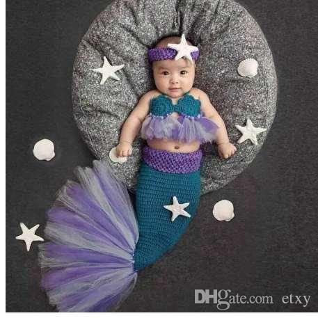 Newborn Photography Props Baby Costume Mermaid Infant Baby Photo Props Knitting fotografia Crochet Outfits Accessories