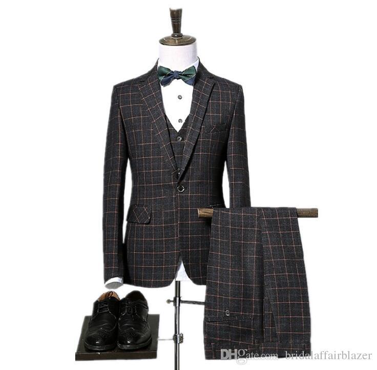 jacket+pants+vest High quality plaid wedding suits men,blazer men,wedding dress,stripe men's Dress suits,size M-XXXL 3 color mens suits