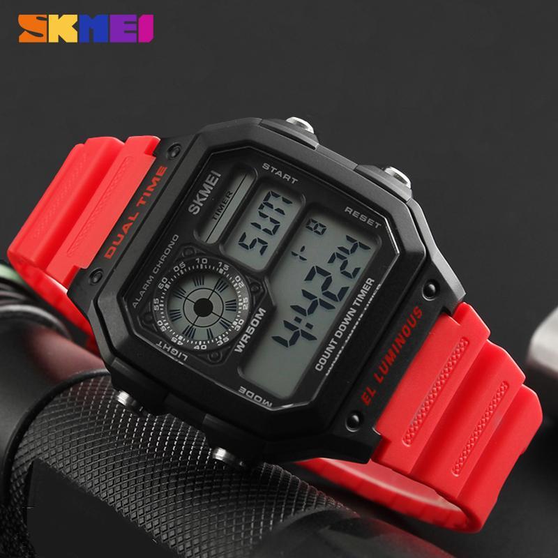 2018 hommes montre sport SKMEI LED chronographe 50m montre-bracelet étanche Alarme montres numériques hommes horloges électroniques Herren Uhren