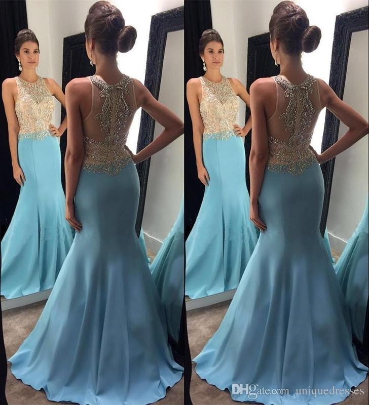 Sexy Light Sky Blue 2018 Vestidos de baile Crystal Beading Mermaid Vestidos de noche formales Bling Bling Girls Pagenat Dress Party