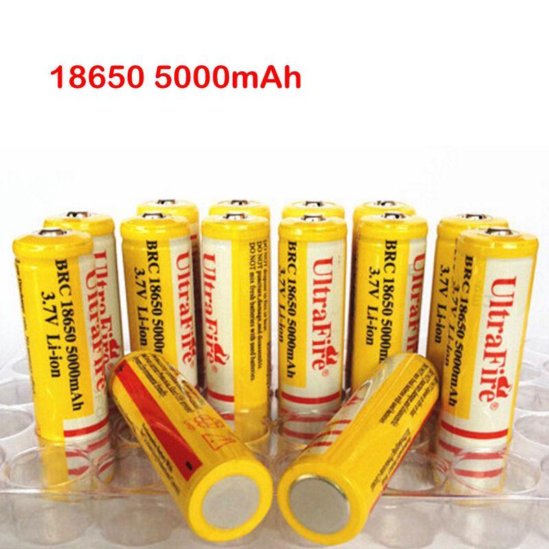 Ultra Fire 18650 3.7 V 5000 mAh batteria ricaricabile al litio giallo, batterie UltraFire BRC Li-ion con caricabatterie