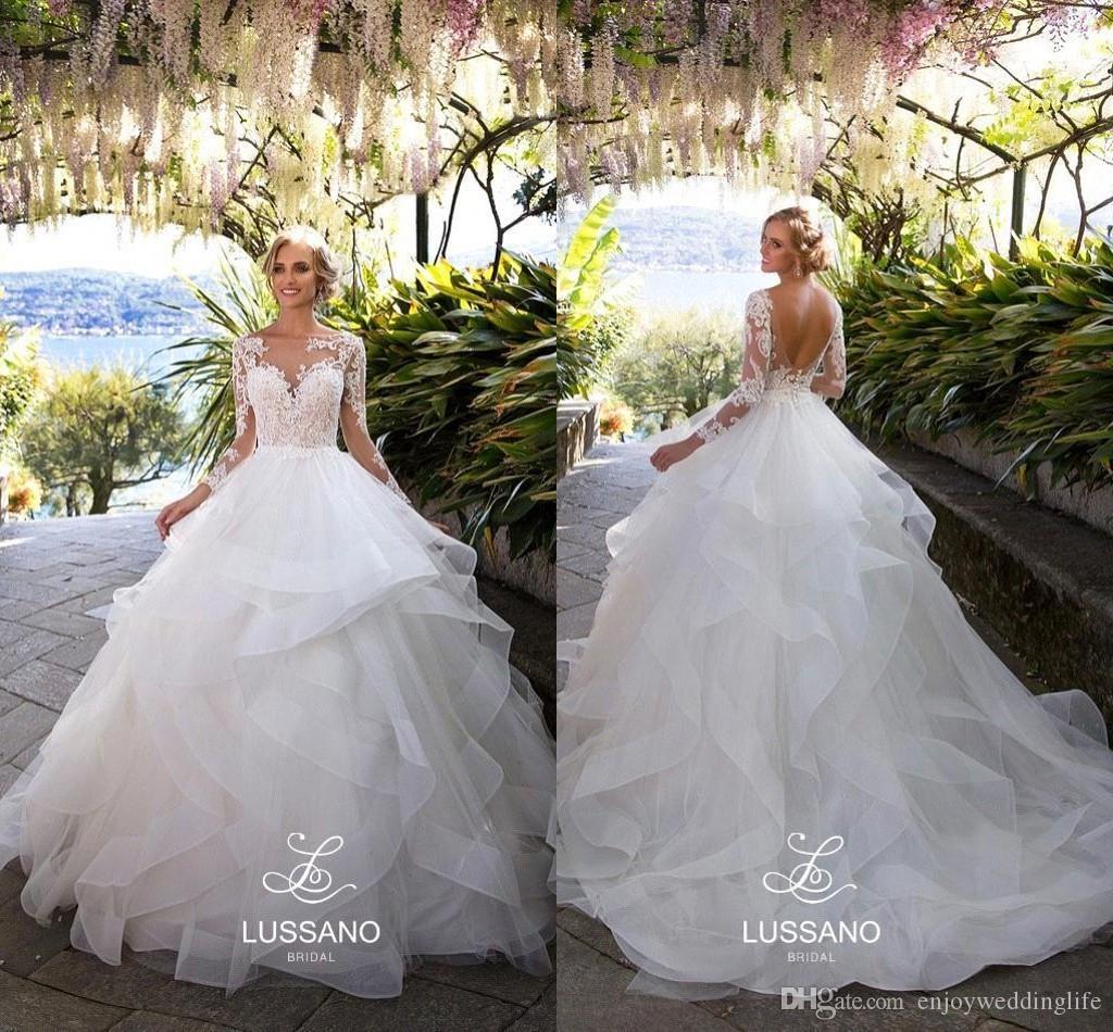 2018 многоуровневая юбки спинки свадебные платья линия тюль Sheer длинные рукава кружева аппликация свадебные платья пляж свадебные платья BA9566