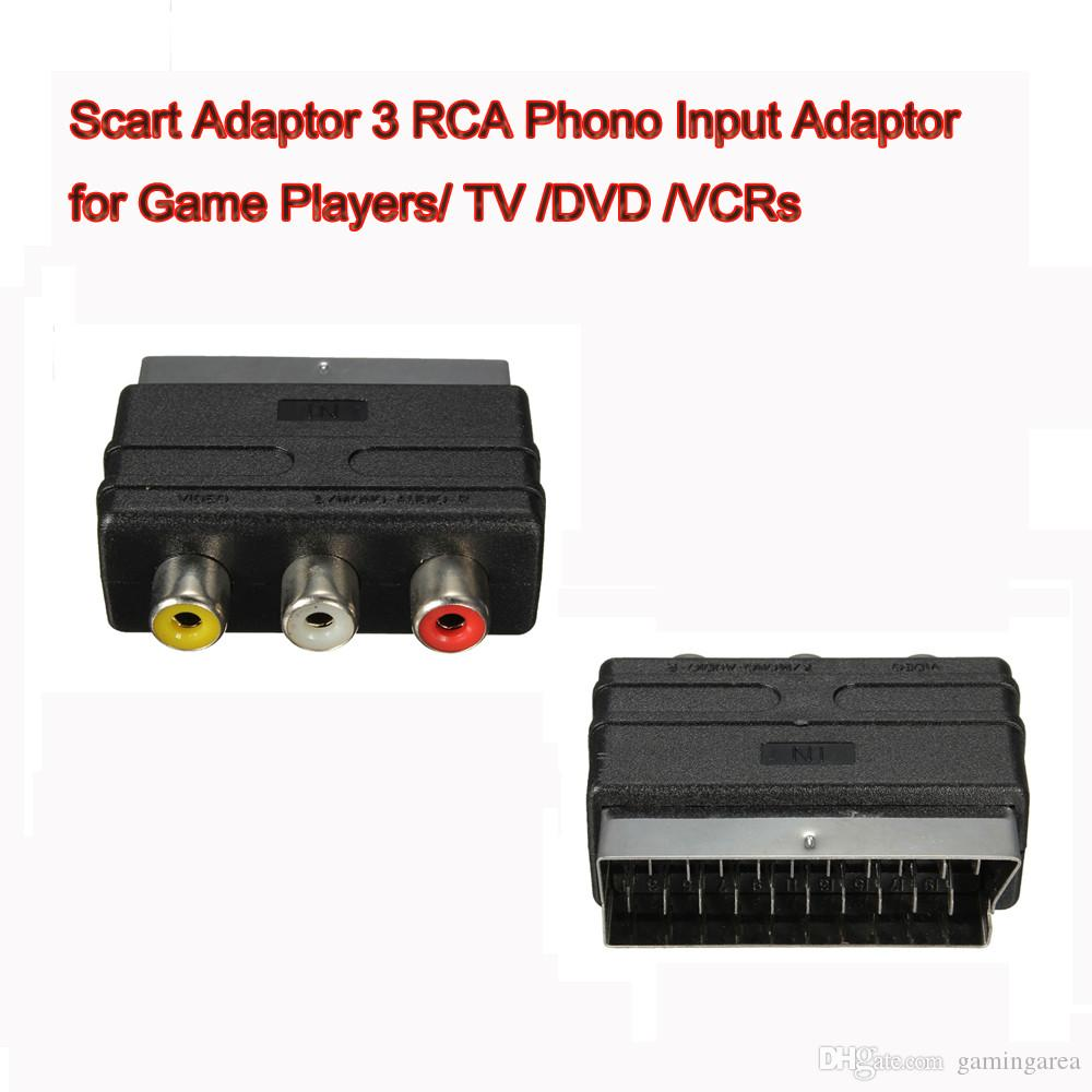 20 Pins SCART Male Plug To 3 RCA Female AV TV Audio Video Adaptor Converter IN for Game Players TV DVD VCRs High Quality FAST SHIP