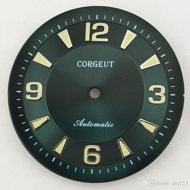 33.5mm Corgeut Green/Black Color Green Luminous Wristwatch Wrist Watch Dial Fit ETA 2836,ETA2836,Miyota 8205/8215/821A Movement P832/P833