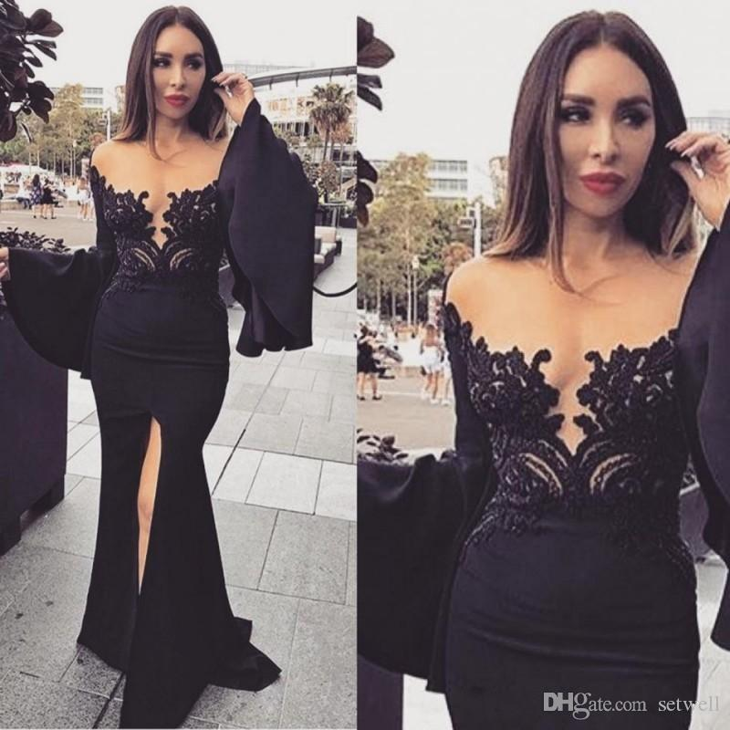 Gorgeous Applique Lace Mermaid Evening Dresses Arabic Front Split Long Poet Sleeve Prom Dress Sexy Formal Evening Gowns