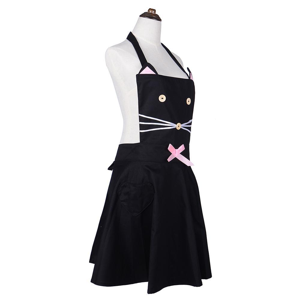 organizador de cocina Delantal de dibujos animados de gato Delantal de algodón de cocina para mujer Delantal de trabajo de cafetería para niña linda Desfile de moda Avental negro Delantal