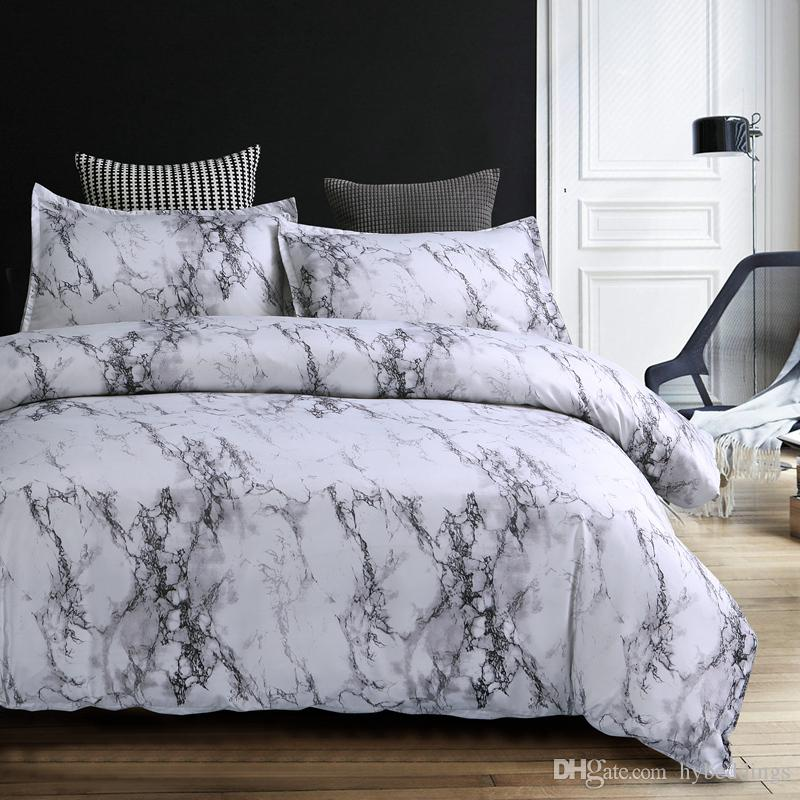 Modern Marble Printed Bedding Set Brief Grey White Duvet Cover
