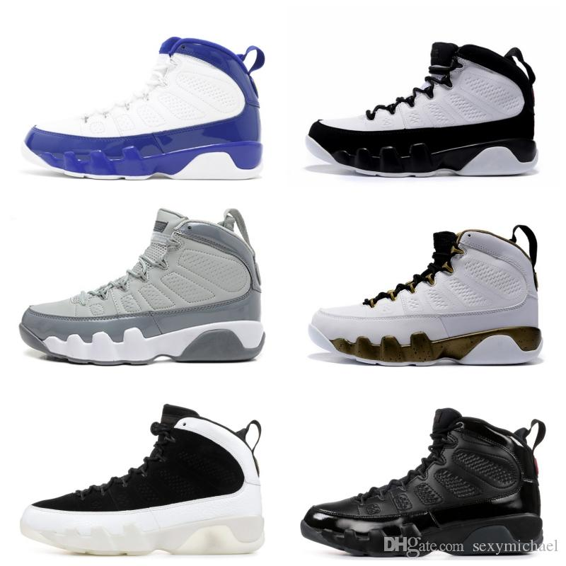 Classic 9 space jam basketball shoes 9s bred cool grey black white Anthracite blue yellow Sports Shoes men with Box