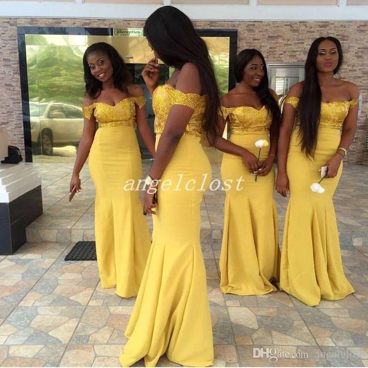 Sereia Africano Sexy Dama de Honra Vestidos 2019 Fora Do Ombro Sem Encosto Amarelo Apliques Plus Size Vestido De Dama De Honra Vestidos de Convidados Do Casamento