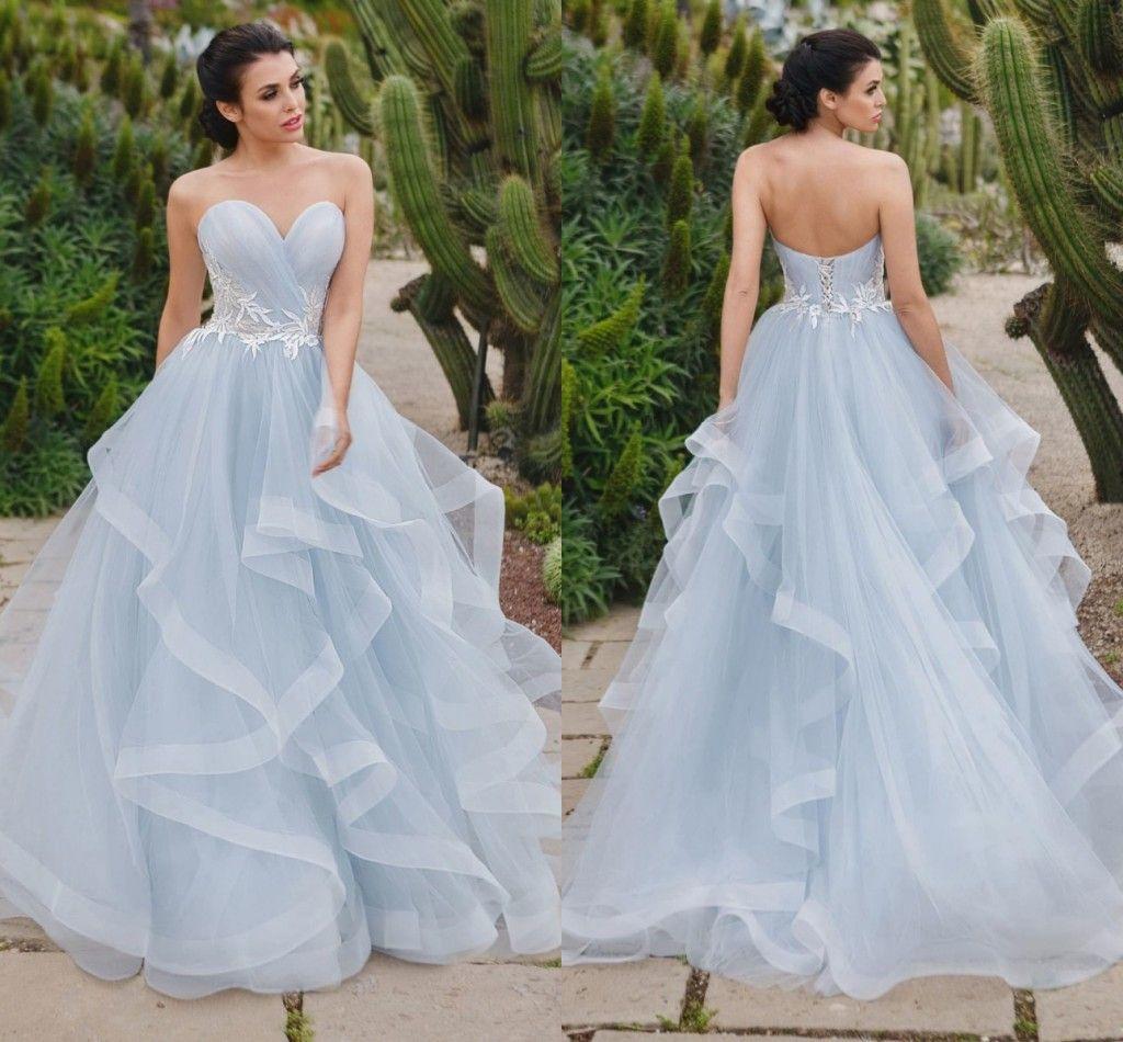 Großhandel Auffällige Silberne Blaue Ballkleid Abendkleider Schatz Plissee  Tüll Stufenrock Korsett Abschlussball Kleider Formales Kleid Kleid Des