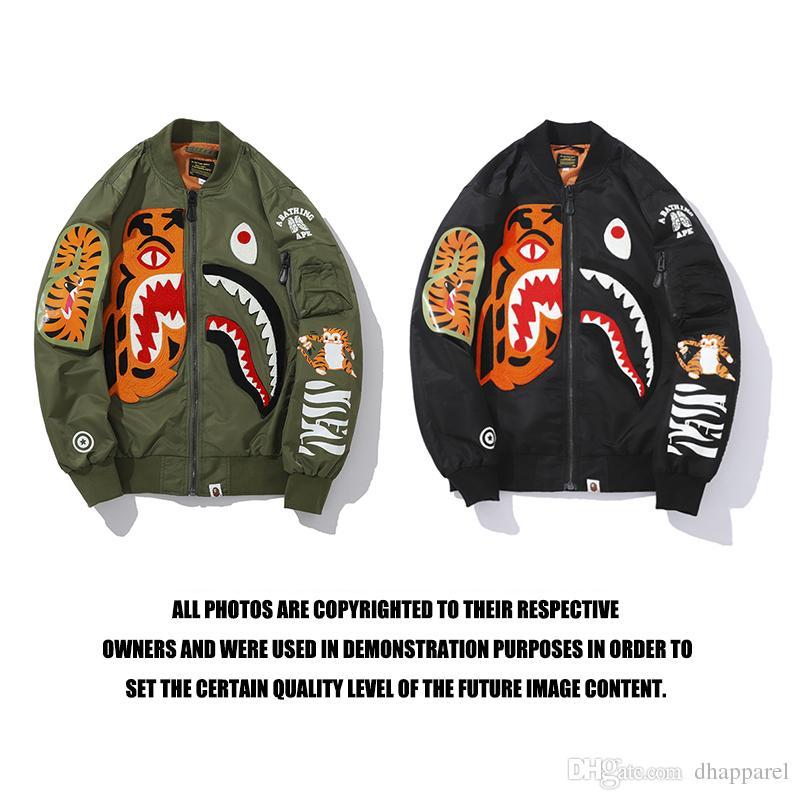 Tide Brand Uomo Donna Shark Head Tiger Head Print Jacket Lover Cappotto multi-capitolato in pelle con cappuccio bicolore