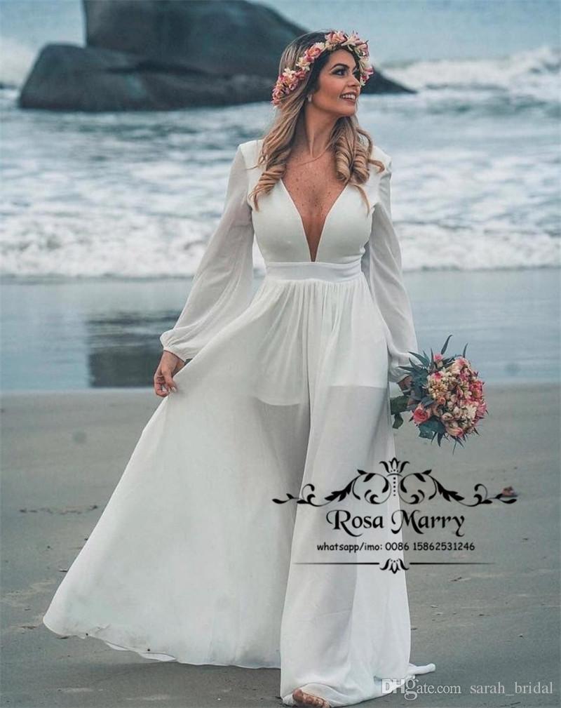 Discount Modest Plus Size Boho Beach Wedding Dresses 2019 A Line Long  Sleeves Cheap Chiffon Greek Country Bohemian Bridal Gowns Vestido De Novia  ...