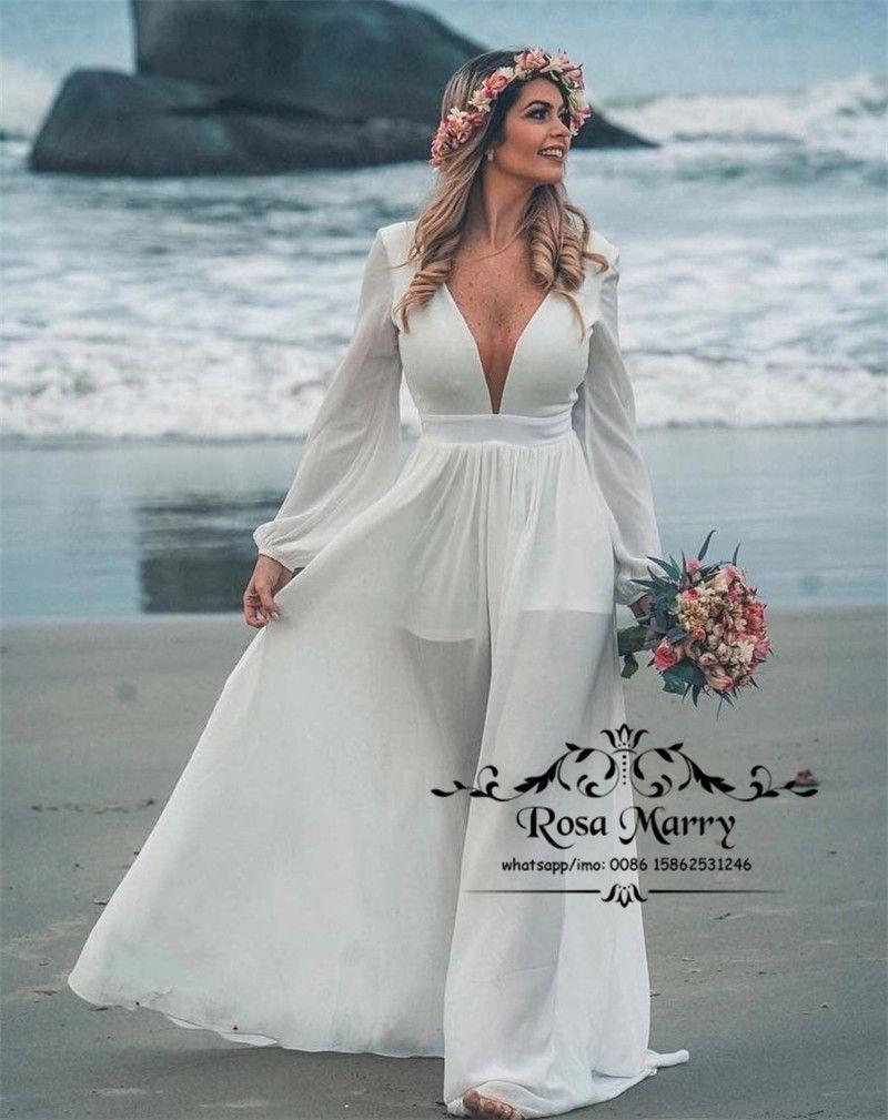 DiscountModest Plus Size Boho Beach Wedding Dresses 18 A Line ...