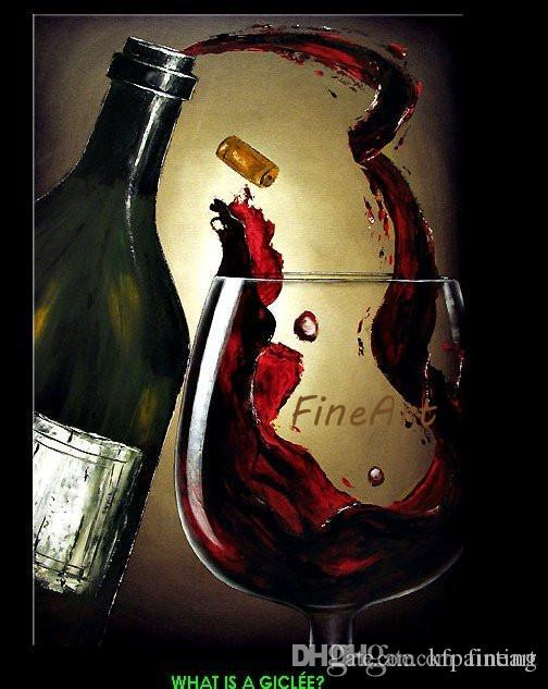 El boyalı modern şarap cam yağlıboya şarap tuval sanat resimlerinde akrilik duvar boyama tuval sanat dekoratif duvar resimleri