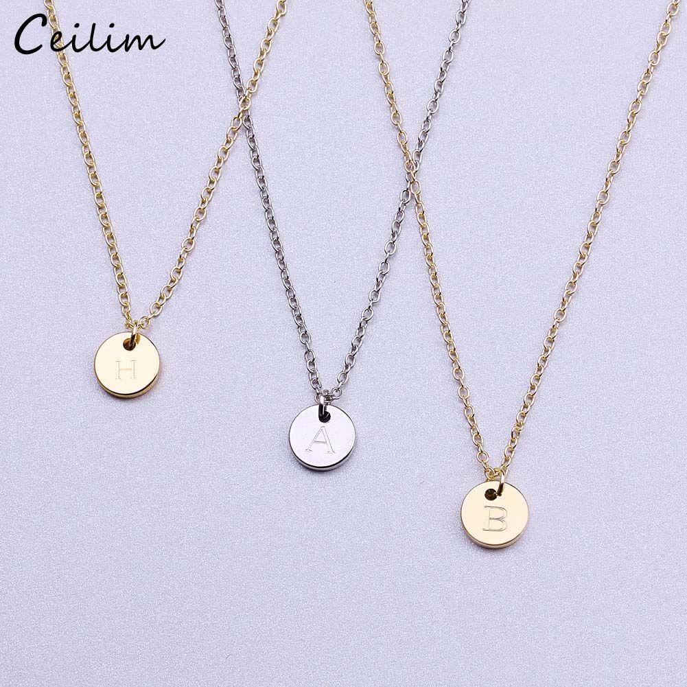26 letras iniciais de prata colar de ouro de cor Colar Disc Necklace Letter Mulheres Kolye Collier Friends Family Jóias Atacado