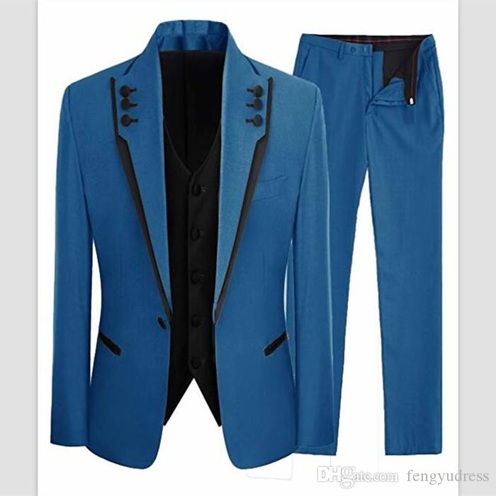2018 fengyudress personalizado roxo um botão ternos de casamento para homens repicado lapela casaco calça design imagens homens ternos (jaqueta + colete + calças)