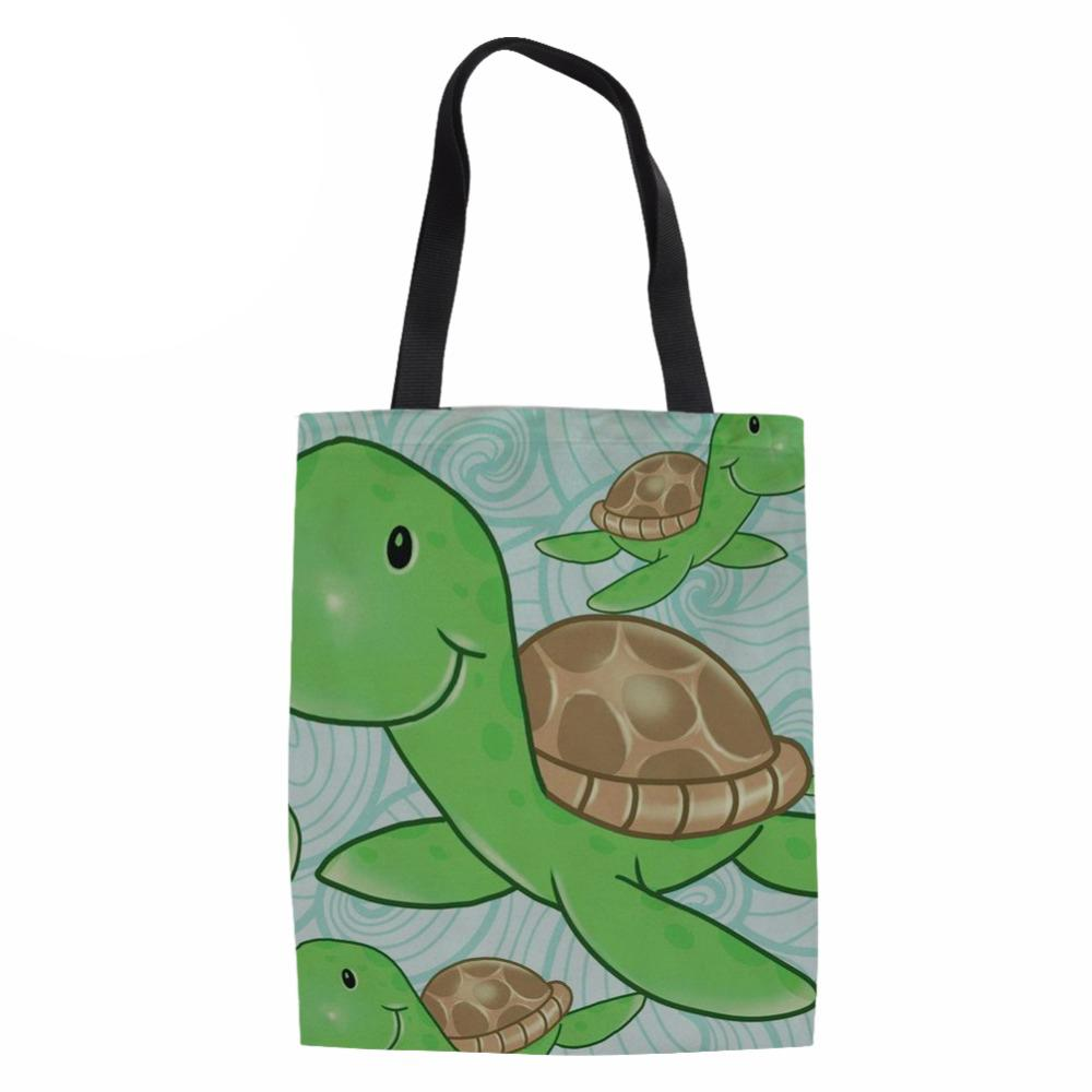 Ladies Beach Large Shoulder Bag Sea Turtle Canvas shopping Tote Folding Women Eco Bag for Females Beach Travel Package