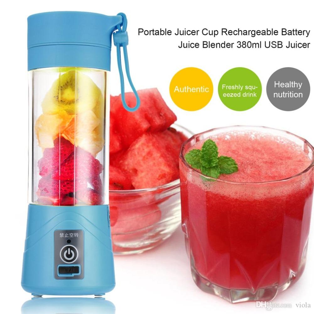 25pcs 4 Colors 380ml USB Electric Fruit Juicer Handheld Smoothie Maker Blender Rechargeable Mini Portable Juice Cup Water Bottle