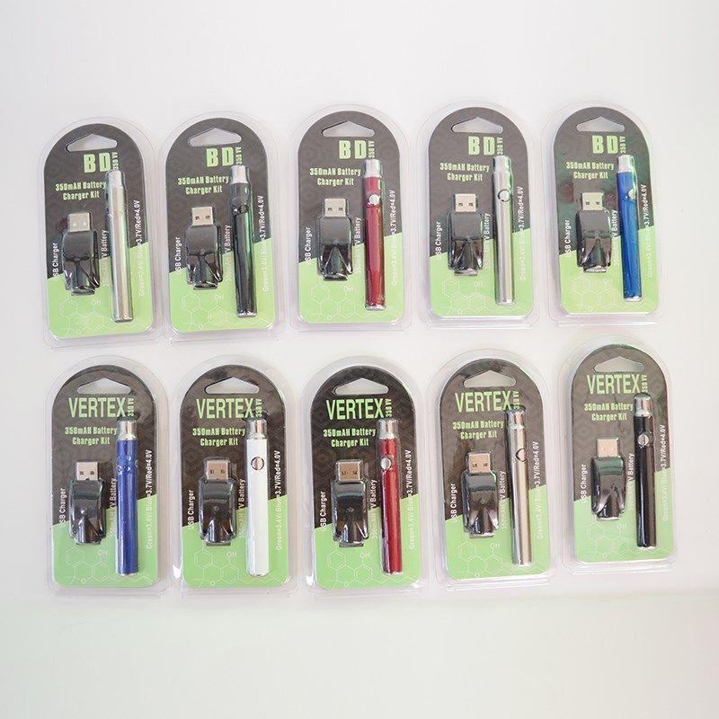 Vape Pen Bateria VV 510 Baterias de Tópicos 350mAh 3.4V-4.0V Blister Embalagem O pré-aquecimento da bateria para Cartucho de óleo Vape eicg cigarros E