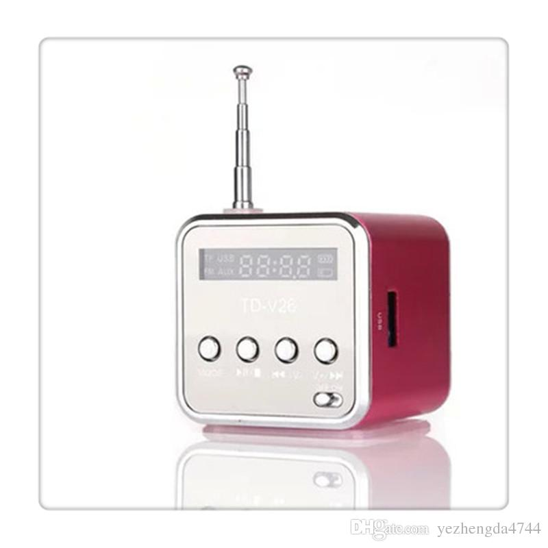 TD V26 Hoparlör ile Radyo Yardımcı In ve Mikro USB Kart Yuvası Yeşil Pembe Mavi Siyah Toptan