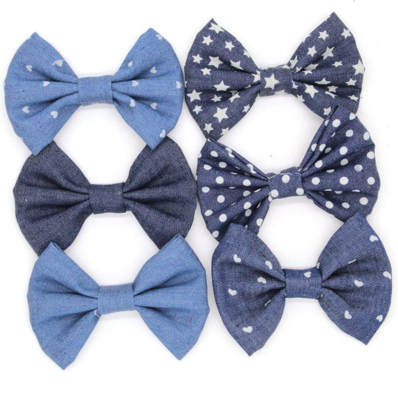 Chic 12pcs /Lot New Arrival Hair Bow Without Clips for Headbands Big Messy Denim Bow for Pretty Fashion Hair Accessories Solid Headwear