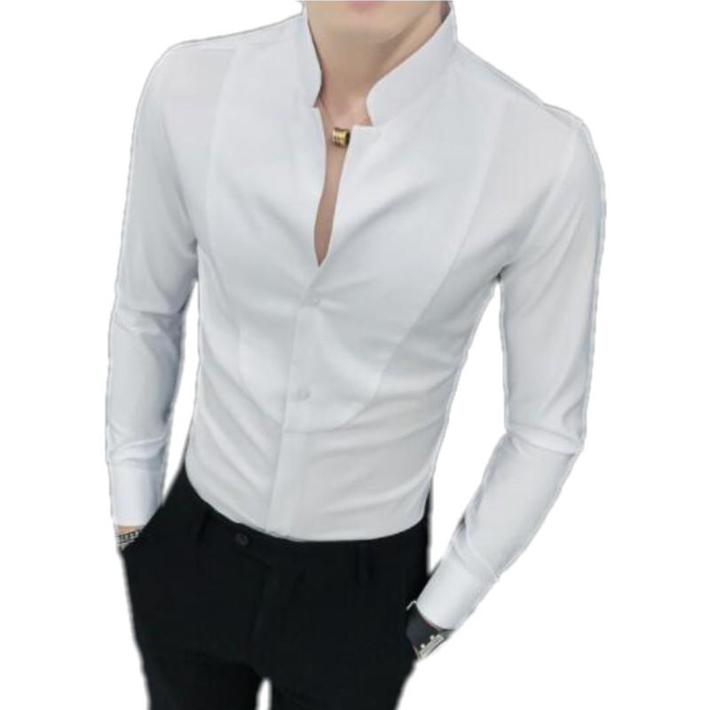 Mens Stand Collar Long Sleeve Velvet Slim Dress Business Shirts Casual Coat Tops