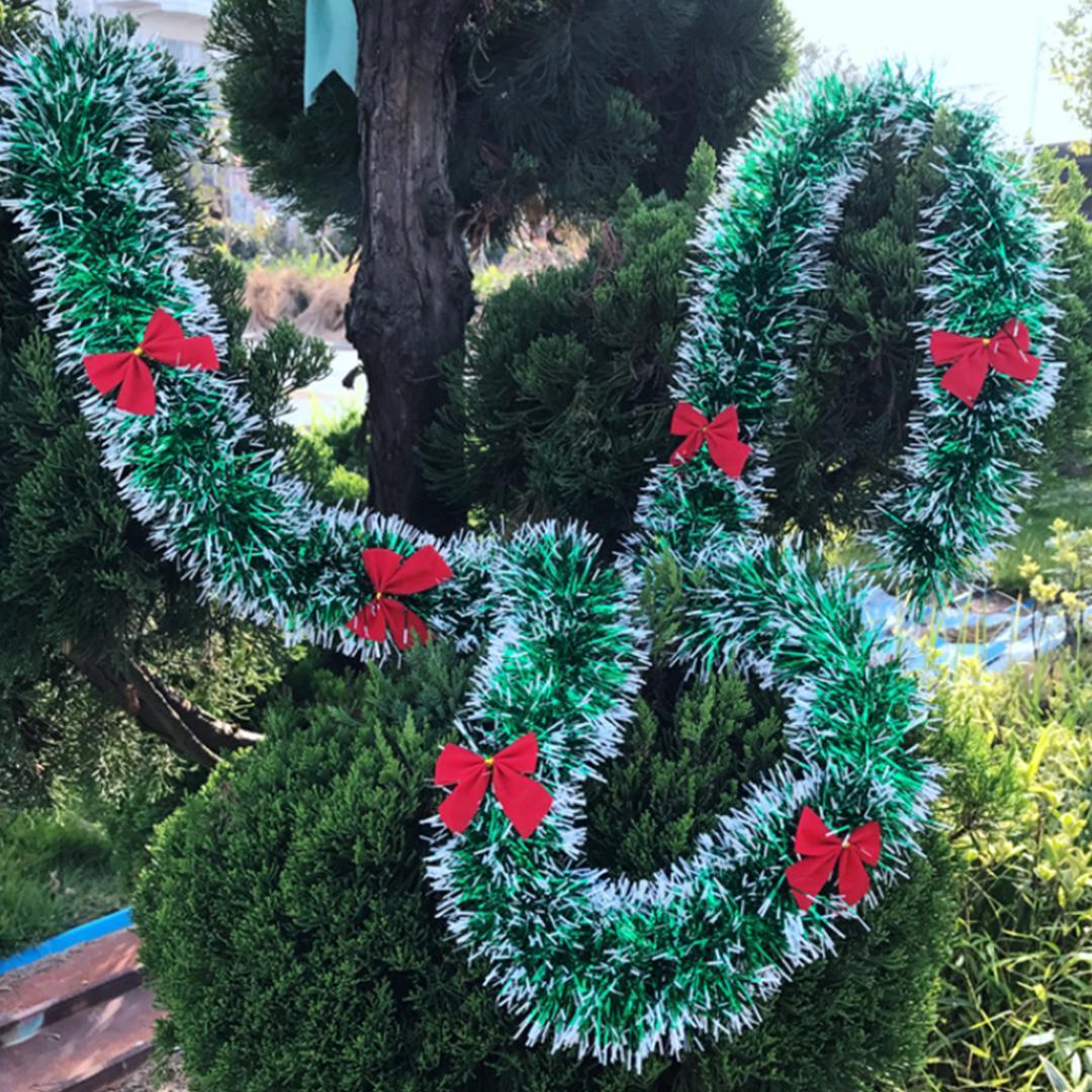 New2M Renkli Noel Dekorasyon Bar Üstleri Şerit Garland Noel Ağacı Süsler Beyaz Koyu Yeşil Kamışı Tinsel Parti Malzemeleri