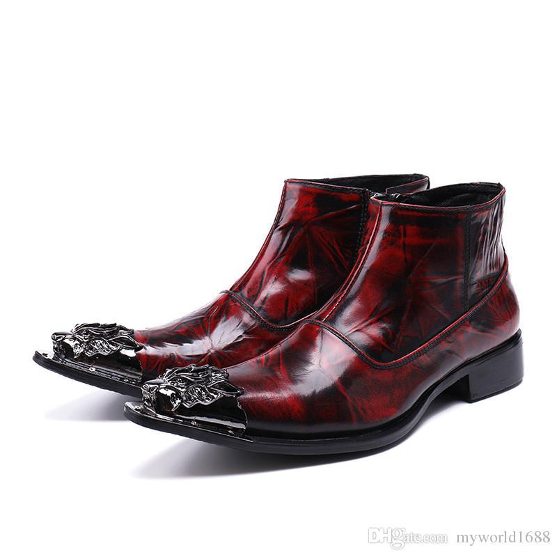 Новые мужские ретро натуральная кожа сапоги мужчины роскошный металл дракон острым носом карьера работа ботильоны человек западный стиль ковбойские сапоги