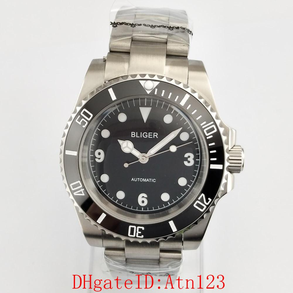 Bliger 40mm Black Dial Plastic Surface Automatic Mechanical Men's Stainless Steel Wrist Watch 3ATM Men's Casual Wristwatch 2591
