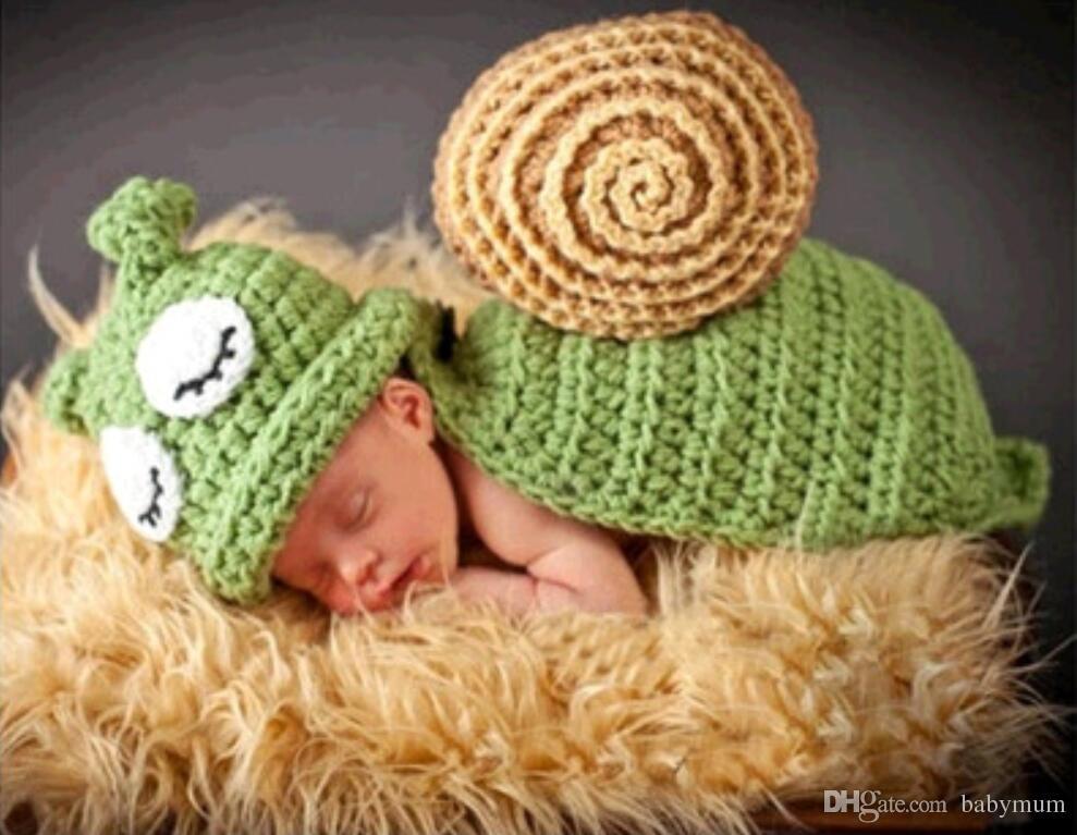 طفل التصوير الدعائم لطيف الحلزون زي مجموعة الوليد بوي فتاة اليدوية الكروشيه الزي الرضع القادمة صور الدعائم الاطفال قبعة المنزل