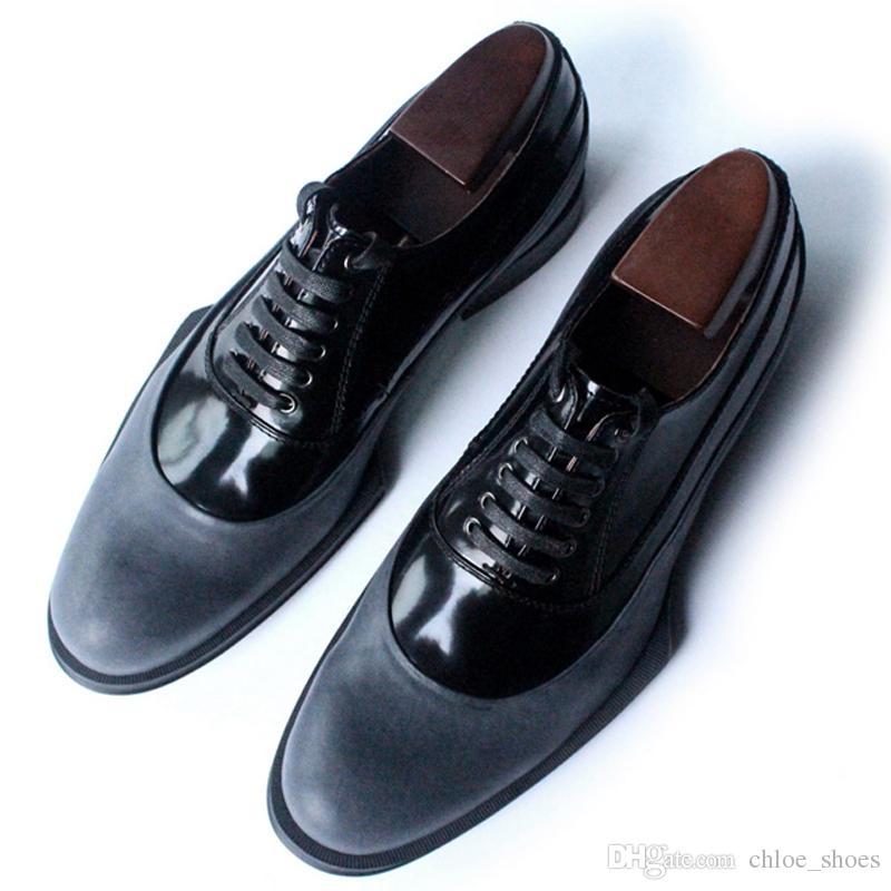 Clássico Vermelho Sapatos de Couro de Vaca Homens de Couro Vestido Sapatos de Alta Qualidade Handmade couro sapatos de couro formal Oxfords