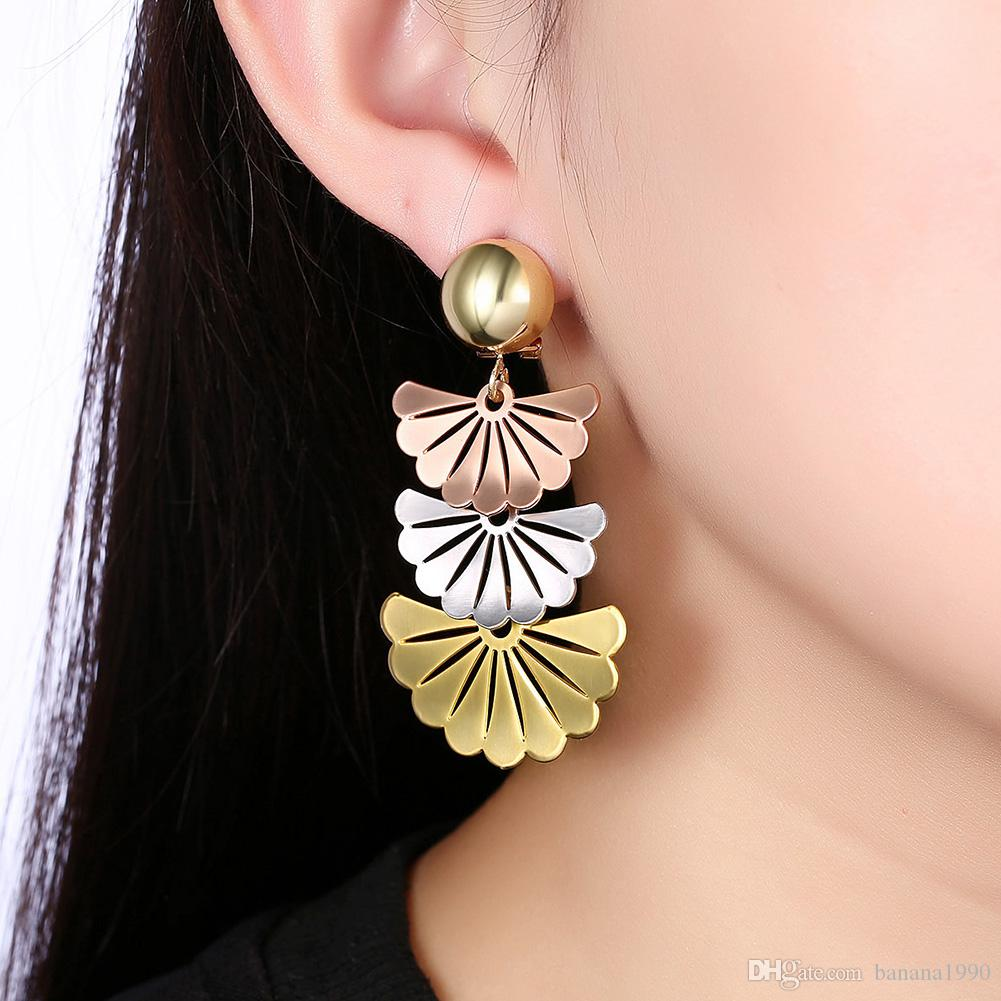 Fashion Exotic Ethnic Big Statement Fan Earrings for Women Multi Color Nickle Free Ear Charms Jewelry Drop Shipping