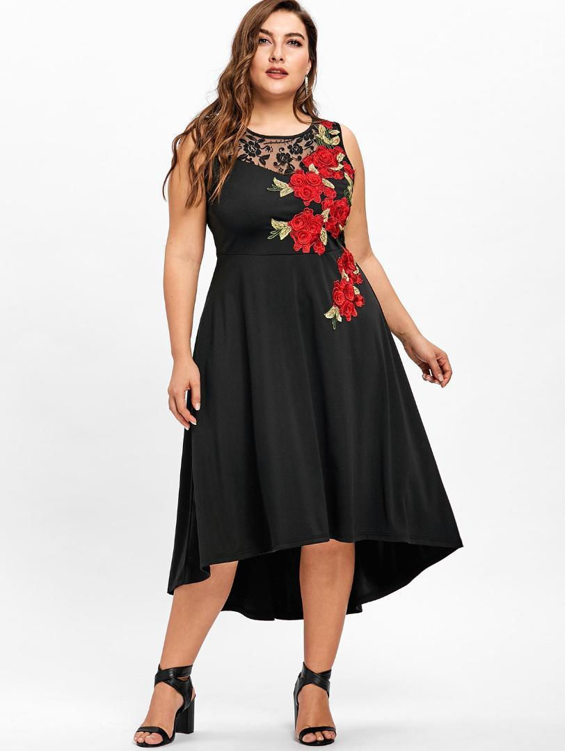2019 Wipalo Plus Size 5xl Floral Embroidery High Low Vintage Party Dress Vestidos Mujer Sleeveless Mid Calf Ladies Lace Trim Dress From Honry 2914