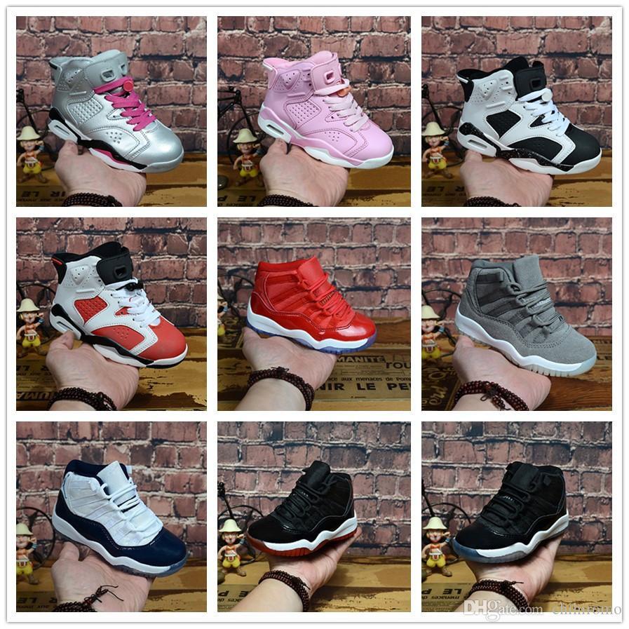 nike air jordan aj11 aj6 Big Kids 11 11s Espaço Jam Bred Concords Meninos Juventude Tênis De Basquete Sneakers 6 11 Crianças Boy Girl Kid 6s esportes Branco Rosa Camurça Crianças