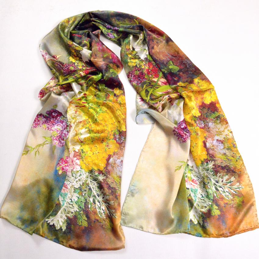 2019 Ladies Mulberry Silk Long Scarf Wraps Hot Sale Grape Flower Plus Size Silk Scarf Noble Elegant Female Shawl Cape 178*55cm Green From Prime04,