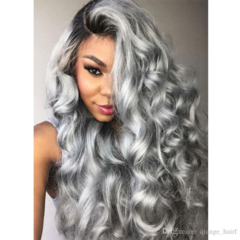 Hot Brazilian Ombre grey full lace human hair wigs wavy silver gray glueless front lace wigs 130% density with Bleached knots gray wig