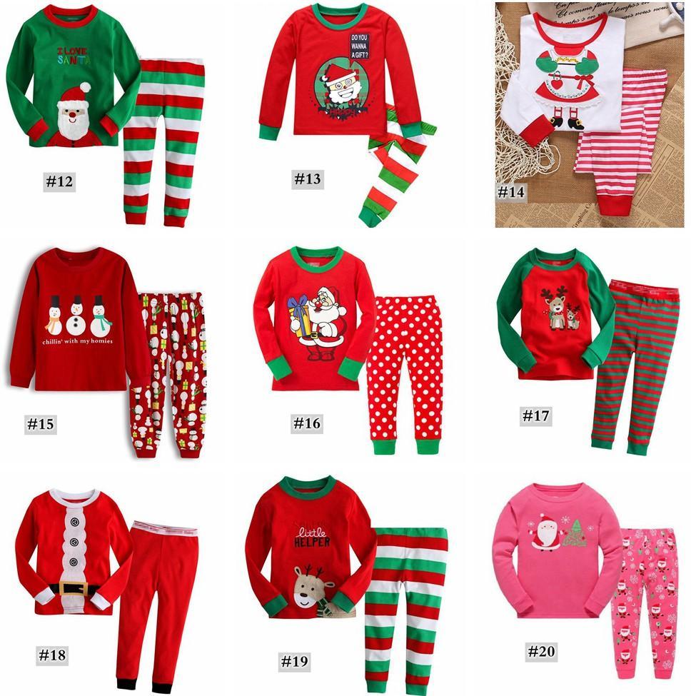 xmas Kids cotton Christmas 2PCS Suits 8Styles Boys Girls Christmas Santa Pajamas Set Pyjamas Kids Spring Autumn Sleep Clothing Set for 2-7T