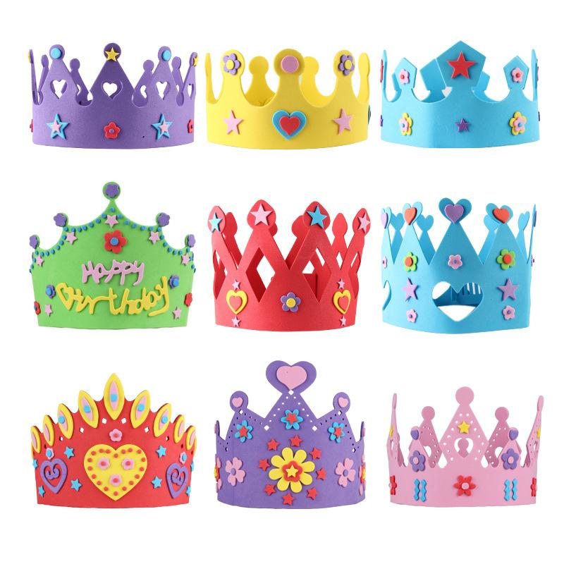 Quevinal 200PCS EVA Foam Birthday Crown for Children Birthday Party Caps Self-adhesive DIY Handmade 3D Eva Crown Hat Craft Kits