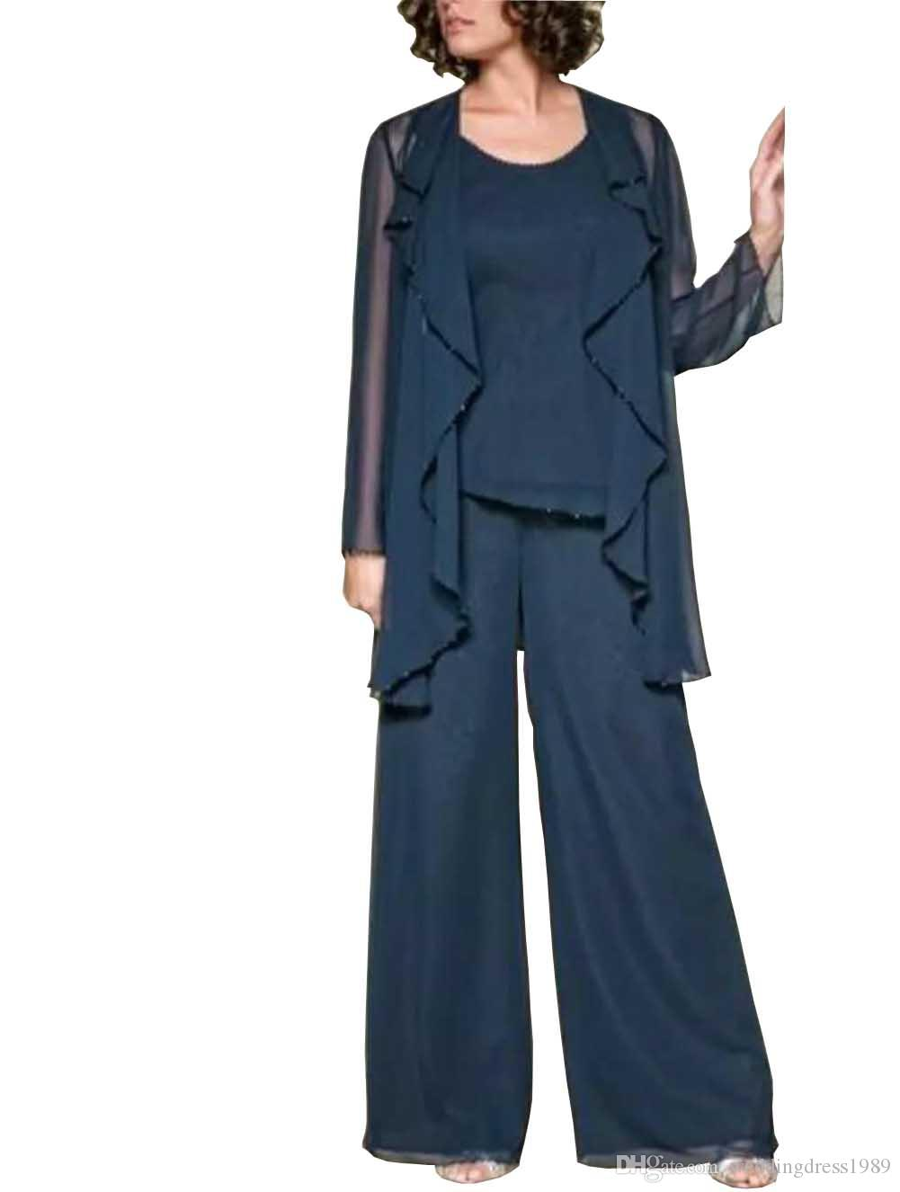 Newest Chiffon Lady Mother Pants Suits With Jacket Evening Dress Party Mother Of The Bride Dress pant Suit Gowns Formal Party Brown Custom