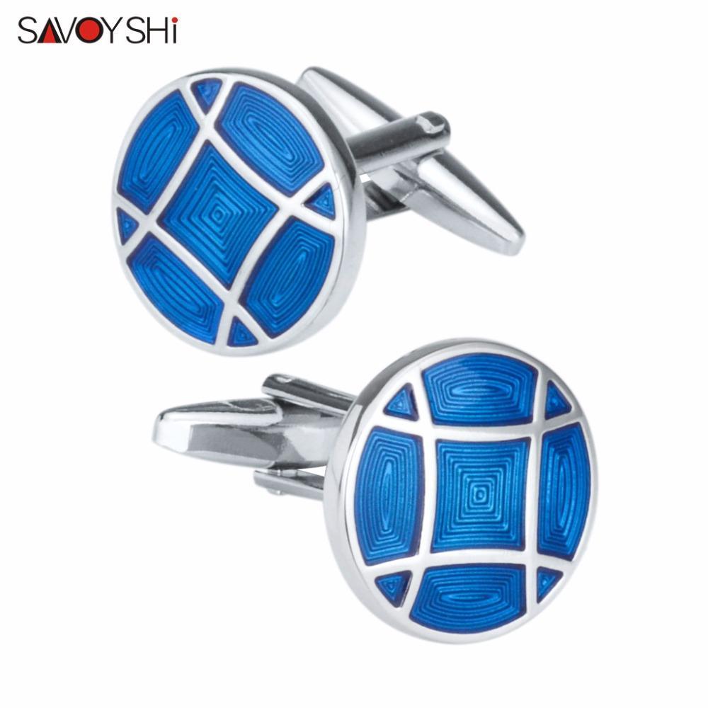 SAVOYSHI Blue Enamel Mens Cufflinks for French Shirt Brand Cuff Nails High Quality Round Cuff Links Wedding Gift Fashion Jewelry