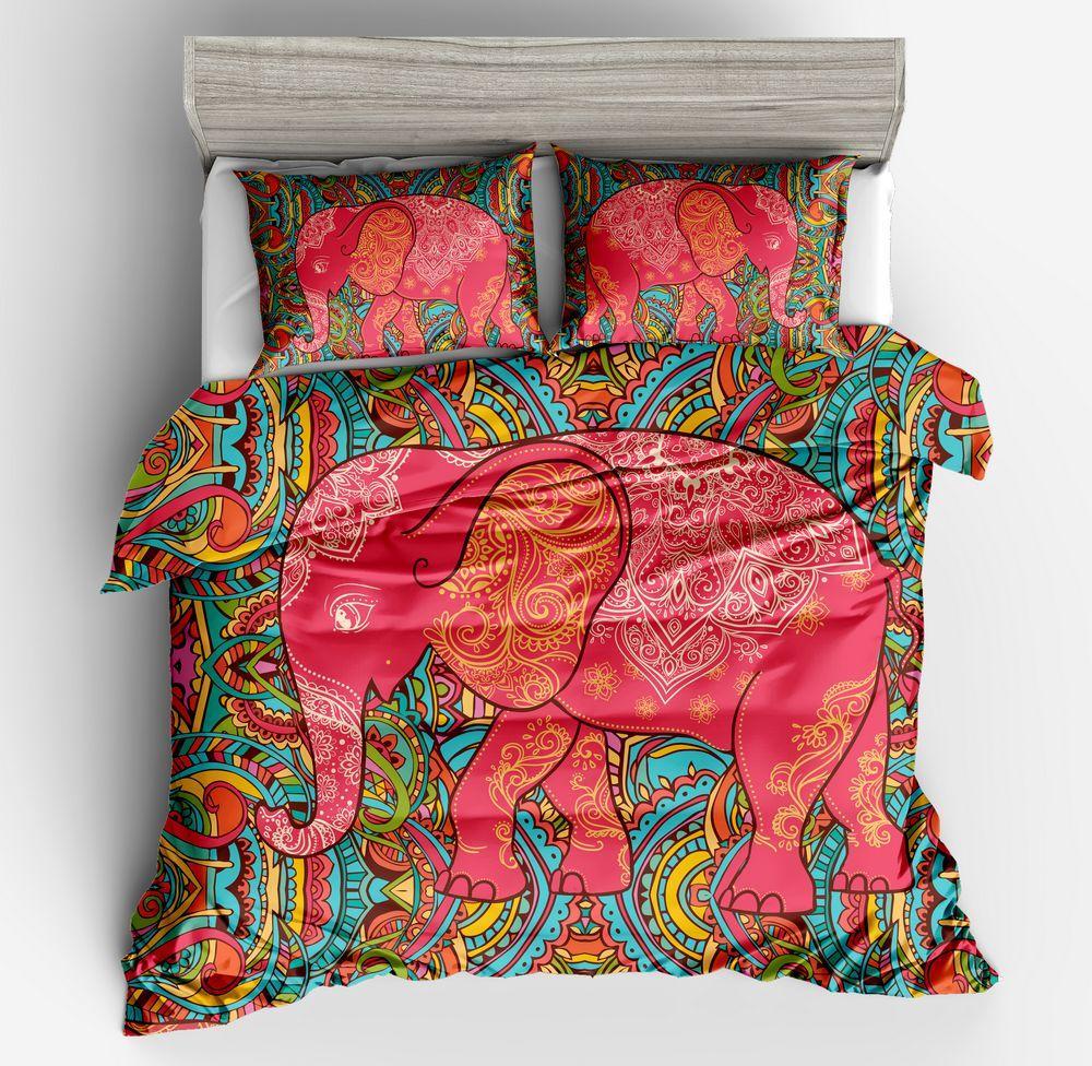 3D Bohemia Style Bedding Set Elephant Duvet Cover Pillow Case Animal Quilt Cover